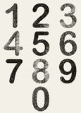 Hand drawn and sketched numbers set. Stock Photography