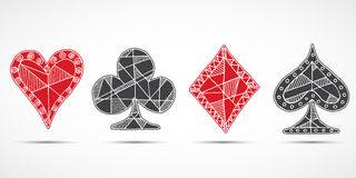 Hand drawn sketched Playing cards, poker, blackjack symbol, background, doodle hearts diamonds spades and clubs symbols.  stock illustration
