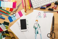 Hand drawn sketches for new fashion collection royalty free stock image