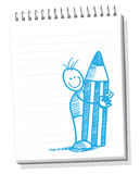 Hand drawn. Sketches stick figure in sketchbook Royalty Free Stock Photos