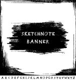 Hand drawn sketchnote banner with alphabet Royalty Free Stock Images