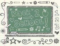 Hand-Drawn Sketchy Back till skolaklotter stock illustrationer