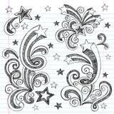 Hand-Drawn Sketchy Back till skolaklotter Arkivfoton