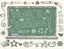 Hand-Drawn Sketchy Back to School Doodles. Hand-Drawn Sketchy Back to School Notebook Doodles. Vector Illustration with school chalkboard, music notes, pencil Stock Image