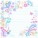 Hand-Drawn Sketchy Back to School Doodles. Hand-Drawn Sketchy Colorful Back to School Style Notebook Doodles with Cloud, Flowers, Swirls, Hearts, Stars, and Royalty Free Stock Photos