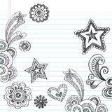 Hand-Drawn Sketchy Back to School Doodles. Hand-Drawn Sketchy Back to School Notebook Doodles with Shooting Stars, Flower, and Heart. Vector Illustration. Design Royalty Free Stock Images