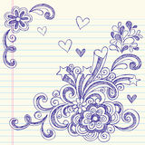 Hand-Drawn Sketchy Back to School Doodles. Hand-Drawn Sketchy Back to School Notebook Doodles with hearts, flowers, and swirls. Vector Illustration. Design Royalty Free Stock Photo