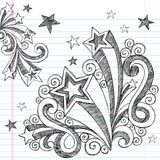 Hand-Drawn Sketchy Back to School Doodles. Hand-Drawn Sketchy Stars and Starburst Back to School Style Notebook Doodles. Vector Illustration. Design Elements on Stock Images