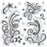 Hand-Drawn Sketchy Back to School Doodles. Hand-Drawn Sketchy Back to School Notebook Doodles with Shooting Stars and swirls. Vector Illustration. Design Stock Photos