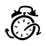 Hand drawn sketchy cartoon illustration depicting alarm clock hasten running very fast and be late. Modern icon isolated on white Royalty Free Stock Image