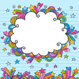 Hand-Drawn Sketchy Cloud Doodle Frame. Hand-Drawn Sketchy Notebook Doodle Cloud Frame with Rainbow Colored Shooting Stars, Flowers, Hearts, and Swirls. Back to