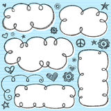 Hand-Drawn Sketchy Cloud Doodles. Hand-Drawn Sketchy Notebook Doodle Cloud Frames with Stars, Flowers, Hearts, and Peace Sign. Back to School style Vector Stock Photo