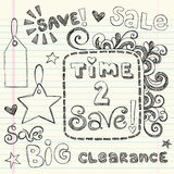 Hand-Drawn Sketchy Coupon Doodles. Hand-Drawn Sketchy Notebook Coupon Doodles with Shopping Sale and Clearance Lettering and Sale Hang tags. Back to School style Royalty Free Stock Photography