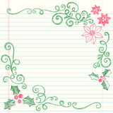 Hand-Drawn Sketchy Doodle Christmas Holly Stock Photography