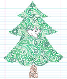 Hand-Drawn Sketchy Doodle Christmas Tree. Hand-Drawn Sketchy Doodle Henna Paisley Christmas Tree with Dove. Vector Illustration. Design Elements on White Lined Stock Images