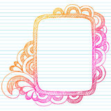 Hand-Drawn Sketchy Doodle Frame. Border Vector Illustration. Design Element on White Lined Paper Background. Perfect for back to school projects Stock Images