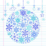 Hand-Drawn Sketchy Doodle Snowflake Ornament. Hand-Drawn Sketchy Doodle Winter Christmas Snowflake Ornament- Vector Illustration. Design Elements on White Lined Royalty Free Stock Photography