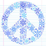 Hand-Drawn Sketchy Doodle Snowflake Peace Sign. Hand-Drawn Sketchy Doodle Winter Christmas Snowflake Peace Sign- Vector Illustration. Design Elements on White Royalty Free Stock Photo