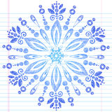 Hand-Drawn Sketchy Doodle Winter Snowflake. Hand-Drawn Sketchy Doodle Winter Christmas Snowflake- Vector Illustration. Design Elements on White Lined Paper Stock Photo