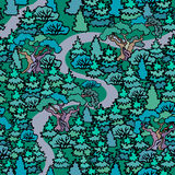 Hand drawn sketchy fir forest.Cartoon Oak and fir trees seamless. Pattern background.Fresh green trees.The road in the woods Royalty Free Stock Images