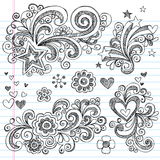 Hand-Drawn Sketchy Flower and Stars Doodles royalty free illustration