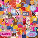 Hand drawn sketchy fun cartoon collage pattern Stock Photography