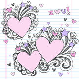 Hand-Drawn Sketchy i Love You Doodles. Hand-Drawn Sketchy Back to School Style I Love You Valentine's Day Heart Notebook Doodles. Vector Illustration. Design Stock Photos