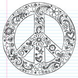 Hand-Drawn Sketchy Peace Sign Doodles. Hand-Drawn Sketchy Notebook Doodles in the shape of a Peace Sign with Shooting Stars and swirls. Back to School style Stock Images