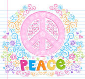 Hand-Drawn Sketchy Peace Sign Lettering Doodles. Hand-Drawn Sketchy Spring Groovy Peace Sign Lettering Doodle with Flowers, Swirls, Hearts, Stars, and peace sign Stock Images