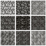 Hand drawn sketchy seamless patterns set. Royalty Free Stock Images