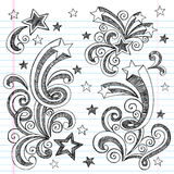 Hand-Drawn Sketchy Shooting Stars Doodles. Hand-Drawn Sketchy Notebook Doodle Shooting Stars and swirls. Back to School style Vector Illustration. Design Stock Image