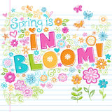 Hand-Drawn Sketchy Spring Time Lettering Doodles. Hand-Drawn Sketchy Spring is in Bloom Lettering Doodle with Flowers,Butterflies, Hearts, Stars, and Swirls Stock Image