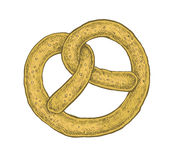 Hand drawn sketchy style colorful pretzel Royalty Free Stock Photography