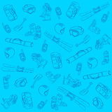 Hand Drawn Ski Seamless Pattern Stock Photo