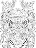 Hand drawn skull colouring page for adults vector illustration