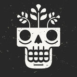 Hand drawn skull with flowers growing through it. Royalty Free Stock Photography
