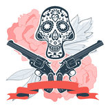 Hand drawn skull with guns and flowers in vintage Royalty Free Stock Photos