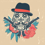 Hand drawn skull with guns and flowers in vintage Stock Photos