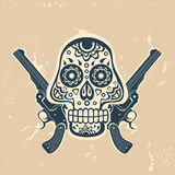 Hand drawn skull with guns on a grungy background Royalty Free Stock Image