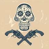 Hand drawn skull with guns on a grungy background Stock Photography