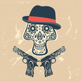 Hand drawn skull with guns on a grungy background Royalty Free Stock Photo