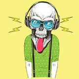 Hand drawn skull listening to music in headphones Royalty Free Stock Images