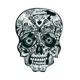 Hand Drawn Skull. Rock style Stock Photos