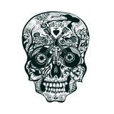 Hand Drawn Skull. Rock style Stock Photos