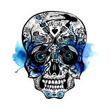 Hand Drawn Skull. Rock style Royalty Free Stock Photo
