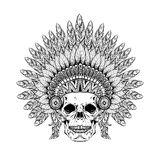 Hand Drawn Skull in zentangle Feathered War bonnet, high dataile Stock Photography