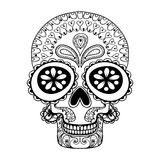 Hand drawn Skull in zentangle style, tribal totem for tattoo, ad Stock Photography