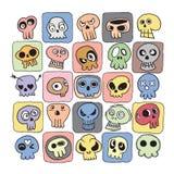 Hand drawn Skulls doodles vector set Stock Photos