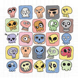 Hand drawn Skulls doodles vector set Stock Photo