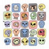 Hand drawn Skulls doodles vector set Stock Photo
